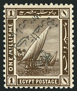Sale Number 1114, Lot Number 1187, EgyptEGYPT, 1922, 1m Olive Brown, Inverted Overprint (78a; Nile Post D78IIAf), EGYPT, 1922, 1m Olive Brown, Inverted Overprint (78a; Nile Post D78IIAf)
