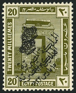 Sale Number 1114, Lot Number 1193, EgyptEGYPT, 1922, 20m Olive Green, Double Overprint (86b; Nile Post D86Ic), EGYPT, 1922, 20m Olive Green, Double Overprint (86b; Nile Post D86Ic)