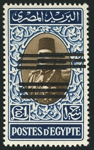 Sale Number 1114, Lot Number 1208, EgyptEGYPT, 1953, £1 Deep Blue & Dark Brown, Triple Overprint, One Inverted (360 var; Nile Post D229b), EGYPT, 1953, £1 Deep Blue & Dark Brown, Triple Overprint, One Inverted (360 var; Nile Post D229b)