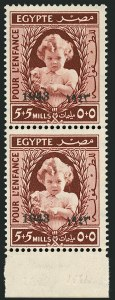 Sale Number 1114, Lot Number 1216, EgyptEGYPT, 1943, 5m+5m Copper Brown, Double Overprint, One Black and One Albino (B2 var; Nile Post C91g), EGYPT, 1943, 5m+5m Copper Brown, Double Overprint, One Black and One Albino (B2 var; Nile Post C91g)
