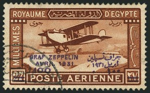 Sale Number 1114, Lot Number 1218, EgyptEGYPT, 1931, 100m on 27m Zeppelin, Violet Overprint (C4; Nile Post C37), EGYPT, 1931, 100m on 27m Zeppelin, Violet Overprint (C4; Nile Post C37)