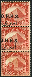 Sale Number 1114, Lot Number 1226, EgyptEGYPT, 1914-15, 4m Brown Red, Official, Pair with One Missing Overprint (O10 var; SG O86b, Nile Post O13d), EGYPT, 1914-15, 4m Brown Red, Official, Pair with One Missing Overprint (O10 var; SG O86b, Nile Post O13d)