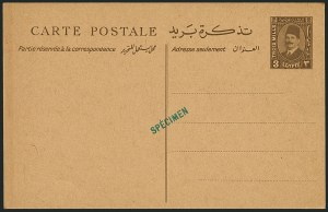 "Sale Number 1114, Lot Number 1236, EgyptEGYPT, 1930s, 3m King Fuad Postal Card, ""Specimen"" Overprint (Nile Post SPC36S, EGYPT, 1930s, 3m King Fuad Postal Card, ""Specimen"" Overprint (Nile Post SPC36S"