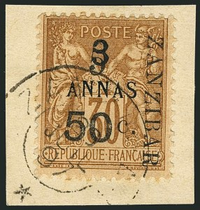 Sale Number 1114, Lot Number 1272, French Offices in ZanzibarFRANCE, OFFICES IN ZANZIBAR, 1897, 5a & 50c on 3a on 30c Brown on Bister (32; Yvert 35), FRANCE, OFFICES IN ZANZIBAR, 1897, 5a & 50c on 3a on 30c Brown on Bister (32; Yvert 35)