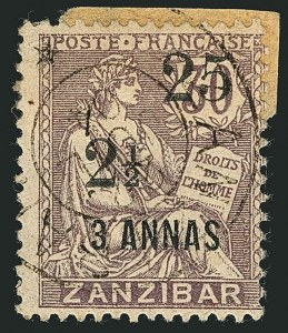 Sale Number 1114, Lot Number 1274, French Offices in ZanzibarFRANCE, OFFICES IN ZANZIBAR, 1904, 25c & 2-1/2a on 3a on 30c Lilac (57; Yvert 65), FRANCE, OFFICES IN ZANZIBAR, 1904, 25c & 2-1/2a on 3a on 30c Lilac (57; Yvert 65)
