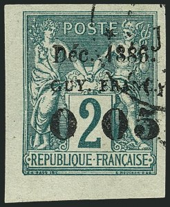 "Sale Number 1114, Lot Number 1276, French GuianaFRENCH GUIANA, 1886, 5c on 2c Green on Greenish, No ""f"" after ""0"" (1c; Yvert 1b), FRENCH GUIANA, 1886, 5c on 2c Green on Greenish, No ""f"" after ""0"" (1c; Yvert 1b)"