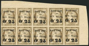 Sale Number 1114, Lot Number 1279, French GuianaFRENCH GUIANA, 1887, 25c on 30c Brown on Yellowish (7; Yvert 5), FRENCH GUIANA, 1887, 25c on 30c Brown on Yellowish (7; Yvert 5)