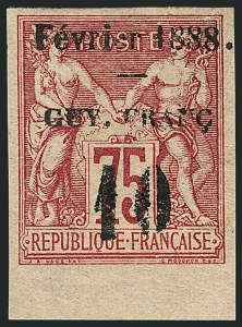 Sale Number 1114, Lot Number 1281, French GuianaFRENCH GUIANA, 1888, 10c on 75c Carmine on Rose (11; Yvert 9), FRENCH GUIANA, 1888, 10c on 75c Carmine on Rose (11; Yvert 9)