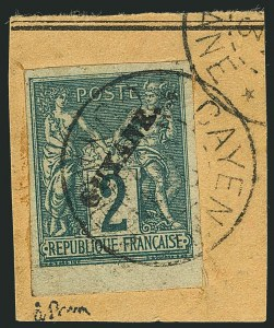 Sale Number 1114, Lot Number 1282, French GuianaFRENCH GUIANA, 1892, 2c Green on Greenish (12; Yvert 11), FRENCH GUIANA, 1892, 2c Green on Greenish (12; Yvert 11)