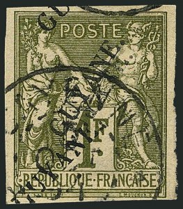Sale Number 1114, Lot Number 1285, French GuianaFRENCH GUIANA, 1892, 1fr Bronze Green on Straw, Triple Overprint (17c; Yvert 15c), FRENCH GUIANA, 1892, 1fr Bronze Green on Straw, Triple Overprint (17c; Yvert 15c)