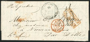 Sale Number 1114, Lot Number 1303, Greenland thru IcelandGUADELOUPE, 1851 Petit Bourg Unpaid Stampless Letter, GUADELOUPE, 1851 Petit Bourg Unpaid Stampless Letter