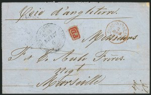 Sale Number 1114, Lot Number 1304, Greenland thru IcelandGUADELOUPE, 1854 Grand Bourg Stampless Cover, GUADELOUPE, 1854 Grand Bourg Stampless Cover