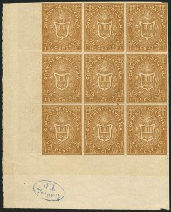Sale Number 1114, Lot Number 1306, Greenland thru IcelandGUATEMALA, 1871, 1c Ocher, Imperforate and Printed on Both Sides (1b), GUATEMALA, 1871, 1c Ocher, Imperforate and Printed on Both Sides (1b)