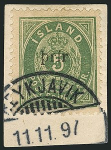 Sale Number 1114, Lot Number 1309, Greenland thru IcelandICELAND, 1897, 3a on 5a Green, Large Surcharge (33; Facit 37), ICELAND, 1897, 3a on 5a Green, Large Surcharge (33; Facit 37)