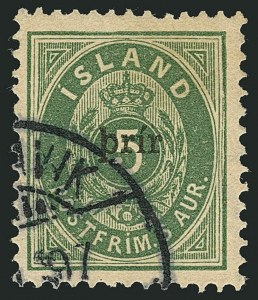Sale Number 1114, Lot Number 1310, Greenland thru IcelandICELAND, 1897, 3a on 5a Green, Small Surcharge (33A; Facit 36), ICELAND, 1897, 3a on 5a Green, Small Surcharge (33A; Facit 36)