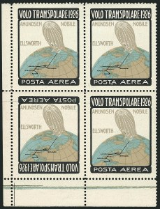 Sale Number 1114, Lot Number 1317, Italian States and ItalyITALY, 1926, Trans-Polar Amundsen-Ellsworth-Nobile Flight, Frame Inverted, Se-tenant Pair with Normal (Sanabria S3, S3f), ITALY, 1926, Trans-Polar Amundsen-Ellsworth-Nobile Flight, Frame Inverted, Se-tenant Pair with Normal (Sanabria S3, S3f)