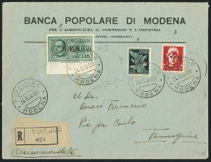 "Sale Number 1114, Lot Number 1320, Italian States and ItalyITALIAN SOCIALIST REPUBLIC, 1944, 2l Carmine, 25c Dark Green Air Post, 1.25l Green Special Delivery, ""G.N.R."" Overprints, Brescia Printing (Sassone 481/I, PA117/I, E19/III), ITALIAN SOCIALIST REPUBLIC, 1944, 2l Carmine, 25c Dark Green Air Post, 1.25l Green Special Delivery, ""G.N.R."" Overprints, Brescia Printing (Sassone 481/I, PA117/I, E19/III)"