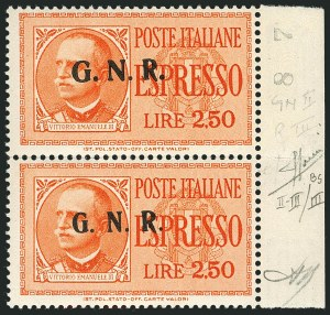 "Sale Number 1114, Lot Number 1323, Italian States and ItalyITALIAN SOCIALIST REPUBLIC, 1943-44, 2.50l Orange ""G.N.R."" Special Delivery, Brescia Printing, Vertical Triptych Pair (Sassone E20/IIaa, E20/III), ITALIAN SOCIALIST REPUBLIC, 1943-44, 2.50l Orange ""G.N.R."" Special Delivery, Brescia Printing, Vertical Triptych Pair (Sassone E20/IIaa, E20/III)"