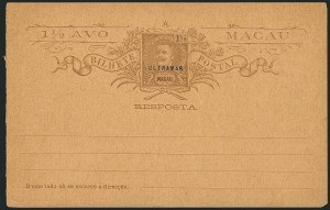 "Sale Number 1114, Lot Number 1333, Japan thru ReunionMACAO, 1890s, 1-1/2a King Carlos Paid Reply Cards, ""Ultramar"" Specimen, MACAO, 1890s, 1-1/2a King Carlos Paid Reply Cards, ""Ultramar"" Specimen"