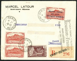 Sale Number 1114, Lot Number 1339, Japan thru ReunionREUNION, 1937, 50c Red, Roland Garros Air Post (C1; Yvert PA1), REUNION, 1937, 50c Red, Roland Garros Air Post (C1; Yvert PA1)