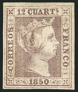 Sale Number 1114, Lot Number 1356, Ryukyu Islands thru SpainSPAIN, 1850, 12c Lilac (2; Edifil 2), SPAIN, 1850, 12c Lilac (2; Edifil 2)