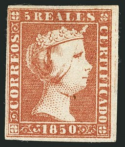 Sale Number 1114, Lot Number 1357, Ryukyu Islands thru SpainSPAIN, 1850, 5r Red (3; Edifil 3), SPAIN, 1850, 5r Red (3; Edifil 3)