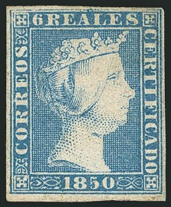 Sale Number 1114, Lot Number 1358, Ryukyu Islands thru SpainSPAIN, 1850, 6r Blue (4; Edifil 4), SPAIN, 1850, 6r Blue (4; Edifil 4)