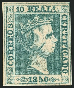 Sale Number 1114, Lot Number 1359, Ryukyu Islands thru SpainSPAIN, 1850, 10r Green (5; Edifil 5), SPAIN, 1850, 10r Green (5; Edifil 5)