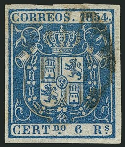 Sale Number 1114, Lot Number 1361, Ryukyu Islands thru SpainSPAIN, 1854, 6r Blue (30; Edifil 27), SPAIN, 1854, 6r Blue (30; Edifil 27)