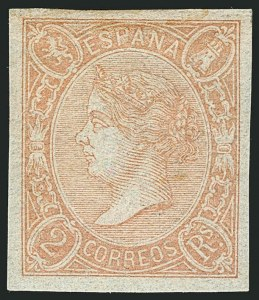 Sale Number 1114, Lot Number 1362, Ryukyu Islands thru SpainSPAIN, 1865, 2r Salmon (73a; Edifil 73A), SPAIN, 1865, 2r Salmon (73a; Edifil 73A)