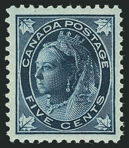 Sale Number 1114, Lot Number 139, Canada - Maple Leaf and Numeral IssueCANADA, 1897, 5c Dark Blue on Bluish Paper Maple Leaf (70), CANADA, 1897, 5c Dark Blue on Bluish Paper Maple Leaf (70)