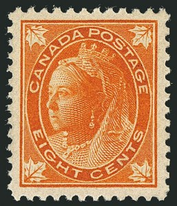 Sale Number 1114, Lot Number 142, Canada - Maple Leaf and Numeral IssueCANADA, 1897, 8c Orange Maple Leaf (72), CANADA, 1897, 8c Orange Maple Leaf (72)