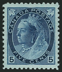 Sale Number 1114, Lot Number 147, Canada - Maple Leaf and Numeral IssueCANADA, 1899, 5c Blue on Bluish Paper (79), CANADA, 1899, 5c Blue on Bluish Paper (79)