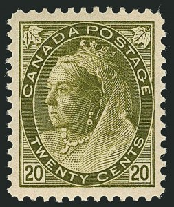 Sale Number 1114, Lot Number 152, Canada - Maple Leaf and Numeral IssueCANADA, 1900, 20c Olive Green (84), CANADA, 1900, 20c Olive Green (84)