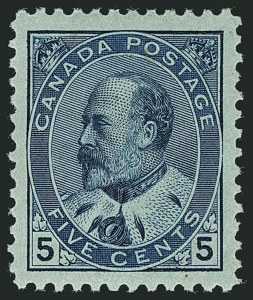 Sale Number 1114, Lot Number 157, Canada - King Edward VIICANADA, 1903, 5c Blue on Whiter Paper (91a), CANADA, 1903, 5c Blue on Whiter Paper (91a)