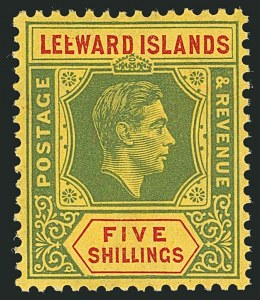 "Sale Number 1114, Lot Number 267, Leeward Islands (by Gibbons)LEEWARD ISLANDS, 1938, 5sh Green & Red on Yellow, Broken ""E"" (SG 112a), LEEWARD ISLANDS, 1938, 5sh Green & Red on Yellow, Broken ""E"" (SG 112a)"