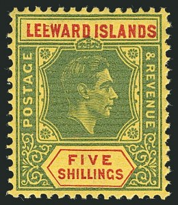 "Sale Number 1114, Lot Number 268, Leeward Islands (by Gibbons)LEEWARD ISLANDS, 1943, 5sh Green & Red, Ordinary Paper, Broken ""E"" (SG 112ba), LEEWARD ISLANDS, 1943, 5sh Green & Red, Ordinary Paper, Broken ""E"" (SG 112ba)"