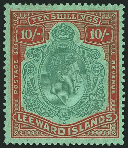 Sale Number 1114, Lot Number 269, Leeward Islands (by Gibbons)LEEWARD ISLANDS, 1944, 10sh Pale Green & Dull Red on Green, Ordinary Paper (SG 113a; Scott 114b), LEEWARD ISLANDS, 1944, 10sh Pale Green & Dull Red on Green, Ordinary Paper (SG 113a; Scott 114b)