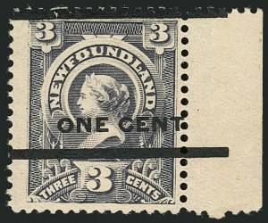 Sale Number 1114, Lot Number 325, Newfoundland - 1865-90 IssuesNEWFOUNDLAND, 1897, 1c on 3c Gray Lilac, Ty. III (77; SG 82), NEWFOUNDLAND, 1897, 1c on 3c Gray Lilac, Ty. III (77; SG 82)