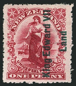 Sale Number 1114, Lot Number 356, New Guinea thru New ZealandNEW ZEALAND, 1908, 1p Rose Carmine, with King Edward VII Land Overprint (121a; SG A1), NEW ZEALAND, 1908, 1p Rose Carmine, with King Edward VII Land Overprint (121a; SG A1)