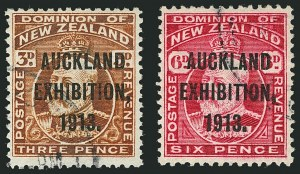 Sale Number 1114, Lot Number 358, New Guinea thru New ZealandNEW ZEALAND, 1913, -1/2p-6p Auckland Exhibition Overprints (130e-137e; SG 412-415), NEW ZEALAND, 1913, -1/2p-6p Auckland Exhibition Overprints (130e-137e; SG 412-415)