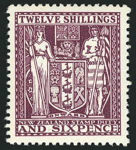 Sale Number 1114, Lot Number 360, New Zealand Coat of Arms Postal Fiscals (by Gibbons)NEW ZEALAND, 1931, 12sh6p Deep Plum, Postal-Fiscal, Cowan Paper (SG F156; Scott AR57), NEW ZEALAND, 1931, 12sh6p Deep Plum, Postal-Fiscal, Cowan Paper (SG F156; Scott AR57)