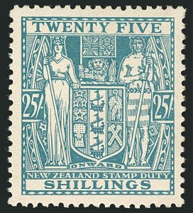 Sale Number 1114, Lot Number 361, New Zealand Coat of Arms Postal Fiscals (by Gibbons)NEW ZEALAND, 1931, 25sh Greenish Blue, Postal-Fiscal, Cowan Paper (SG F159; Scott AR60), NEW ZEALAND, 1931, 25sh Greenish Blue, Postal-Fiscal, Cowan Paper (SG F159; Scott AR60)