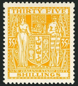 Sale Number 1114, Lot Number 362, New Zealand Coat of Arms Postal Fiscals (by Gibbons)NEW ZEALAND, 1931, 35sh Orange Yellow, Postal-Fiscal, Cowan Paper (SG F161; Scott AR62), NEW ZEALAND, 1931, 35sh Orange Yellow, Postal-Fiscal, Cowan Paper (SG F161; Scott AR62)
