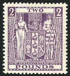 Sale Number 1114, Lot Number 363, New Zealand Coat of Arms Postal Fiscals (by Gibbons)NEW ZEALAND, 1931, £2 Bright Purple, Postal-Fiscal, Cowan Paper (SG F162; Scott AR63), NEW ZEALAND, 1931, £2 Bright Purple, Postal-Fiscal, Cowan Paper (SG F162; Scott AR63)