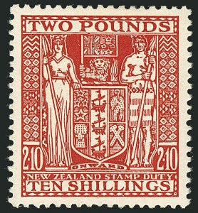 Sale Number 1114, Lot Number 364, New Zealand Coat of Arms Postal Fiscals (by Gibbons)NEW ZEALAND, 1931, £2 10sh Red, Postal-Fiscal, Cowan Paper (SG F163; Scott AR64), NEW ZEALAND, 1931, £2 10sh Red, Postal-Fiscal, Cowan Paper (SG F163; Scott AR64)