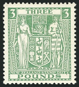 Sale Number 1114, Lot Number 365, New Zealand Coat of Arms Postal Fiscals (by Gibbons)NEW ZEALAND, 1931, £3 Green, Postal-Fiscal, Cowan Paper (SG F164; Scott AR65), NEW ZEALAND, 1931, £3 Green, Postal-Fiscal, Cowan Paper (SG F164; Scott AR65)