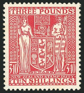 Sale Number 1114, Lot Number 366, New Zealand Coat of Arms Postal Fiscals (by Gibbons)NEW ZEALAND, 1935, £3 10sh Rose, Postal-Fiscal, Cowan Paper (SG F165; Scott AR66), NEW ZEALAND, 1935, £3 10sh Rose, Postal-Fiscal, Cowan Paper (SG F165; Scott AR66)