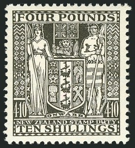 Sale Number 1114, Lot Number 368, New Zealand Coat of Arms Postal Fiscals (by Gibbons)NEW ZEALAND, 1935, £4 10sh Deep Olive Gray, Postal-Fiscal, Cowan Paper (SG F167; Scott AR68), NEW ZEALAND, 1935, £4 10sh Deep Olive Gray, Postal-Fiscal, Cowan Paper (SG F167; Scott AR68)