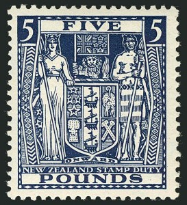 Sale Number 1114, Lot Number 369, New Zealand Coat of Arms Postal Fiscals (by Gibbons)NEW ZEALAND, 1935, £5 Indigo Blue, Postal-Fiscal, Cowan Paper (SG F168; Scott AR69), NEW ZEALAND, 1935, £5 Indigo Blue, Postal-Fiscal, Cowan Paper (SG F168; Scott AR69)